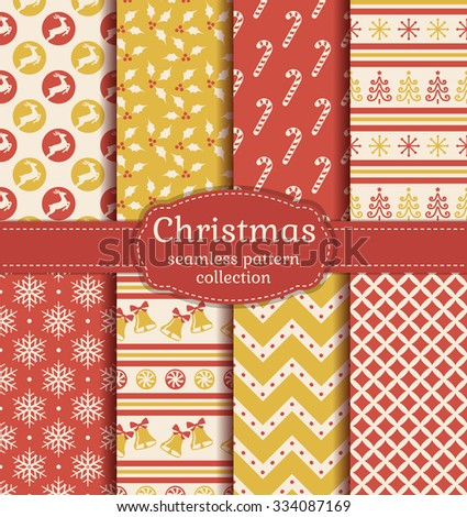 Merry Christmas and Happy New Year! Set of seamless backgrounds with traditional symbols: deer, christmas tree, bells, candy cane, holly, snowflakes and suitable abstract patterns. Vector collection. - stock vector