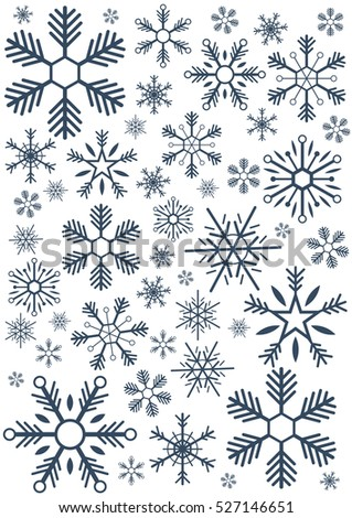 Merry Christmas and Happy New Year. Snowflakes. Vector illustration