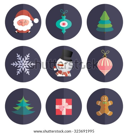 Merry Christmas and Happy New Year sticker decorations. Collection of modern style vector icon.  - stock vector