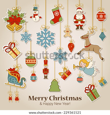 Merry Christmas and Happy New Year sticker label decorations modern style vector postcard template. Stylish concept icons set of Xmas and winter holidays. Collection of celebration object and item. - stock vector