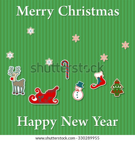 Merry Christmas and Happy New Year sticker set, vector