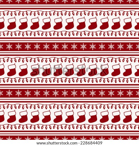 Merry Christmas and Happy New Year! Striped background with socks, garlands and snowflakes. Seamless pattern. Vector illustration. - stock vector
