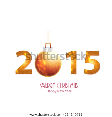 Merry Christmas and Happy New Year 2015 Stylish Text Vector Design  - stock vector