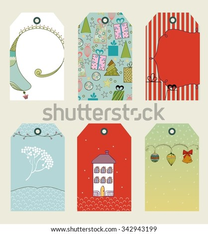 Merry Christmas  and Happy New Year tags. Christmas gift tags - stock vector