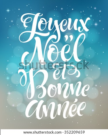 Merry Christmas and Happy New Year text in French: oyeux Noel et Bonne Annee. Vector lettering for invitation, greeting card, prints. Hand drawn holidays design - stock vector