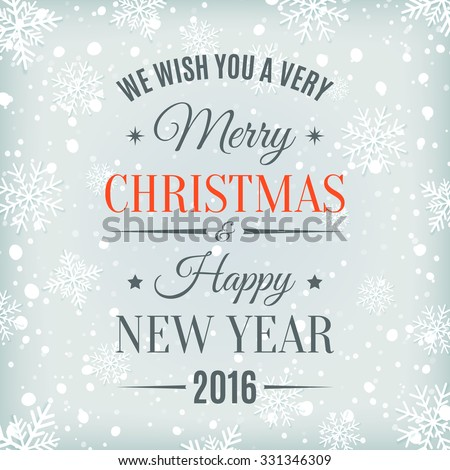 Merry Christmas  and Happy New Year text label on a winter background with snow and snowflakes. Greeting card template. Vector illustration. - stock vector