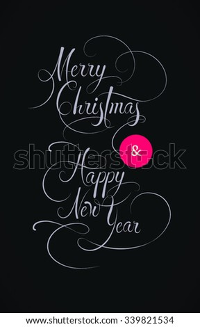 Merry Christmas And Happy New Year Text Vintage Style Xmas Banner Black White