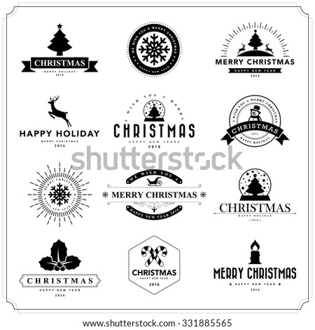 Merry Christmas and Happy New Year typographic background - stock vector