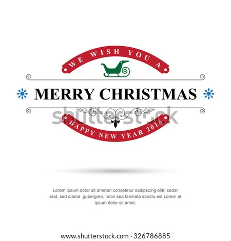 Merry Christmas and Happy New Year typographic background,Vector eps10 - stock vector