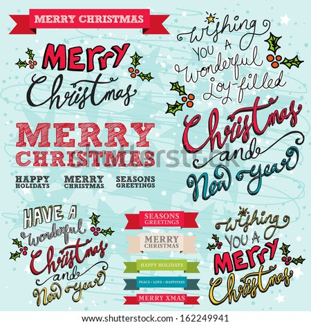 Merry Christmas and Happy New Year Typographic Hand drawn Christmas Banners with ribbon text banners on a blue hand drawn background - stock vector