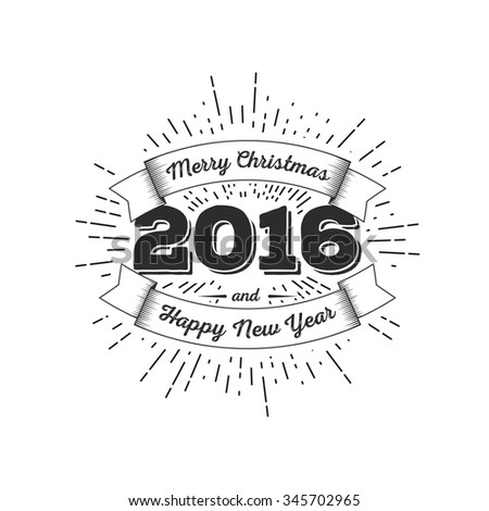 Merry Christmas and Happy New Year 2016 Typography Composition . Holiday Vector Illustration with firework. Template for poster, banner, shop decoration. - stock vector