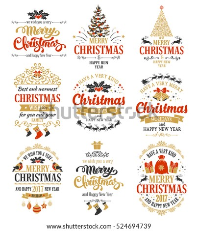 Merry Christmas and Happy New Year typography designs set isolated on white background. Vector illustration.