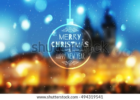 merry christmas and happy new year, vector blurred background of night town prague view and snowfall
