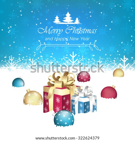 Merry Christmas and Happy New Year vector illustration/gift boxes, christmas baubles, snow and snowflakes - stock vector