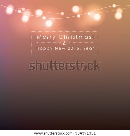 Merry Christmas and Happy New Year vector illustration with copy space. Bright abstract blurred Christmas lights isolated on dark background. - stock vector