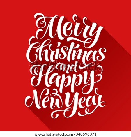 Merry Christmas and Happy New Year vector text on red background. Holidays lettering for invitation and greeting card, prints and posters. Hand drawn typographic inscription, calligraphic design - stock vector