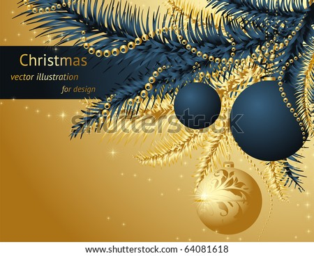 Merry Christmas and Happy New Year vector with ball, fur tree branch and stars.