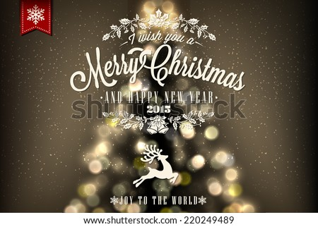 Merry Christmas And Happy New Year Vintage Christmas Background With Typography - stock vector