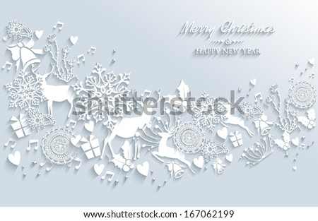 Merry Christmas and Happy new year vintage white 3d elements greeting card design. EPS10 vector illustration with transparency layers. - stock vector