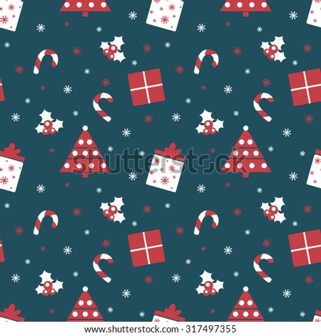 Merry Christmas and Happy New Year. Winter holiday background. Cute seamless pattern with red and blue colors. Vector illustration can be used for printing on paper and fabric.  - stock vector