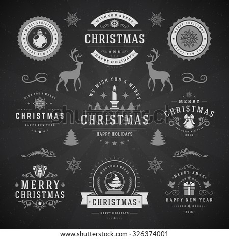Merry Christmas And Happy New Year Wishes Typographic Labels and Badges set, Vintage decorations, objects, symbols and elements, vector illustration on blackboard - stock vector