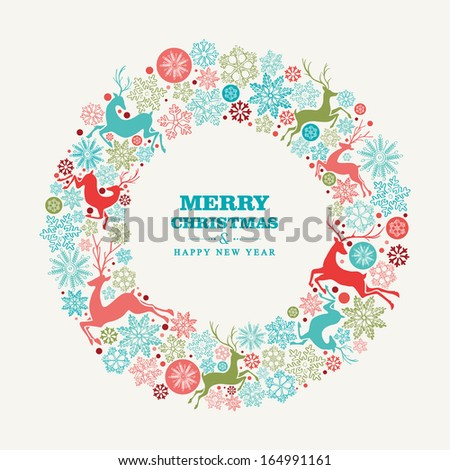 Merry Christmas and Happy New Year wreath shape greeting card background. EPS10 vector file organized in layers for easy editing. - stock vector