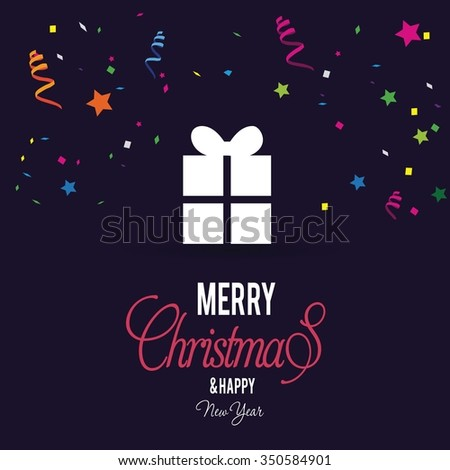 Merry Christmas and Happy Winter background celebration typography with presents and gift box. Vector illustration. Carnival with many confetti and streamers