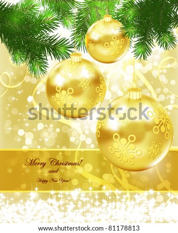 Merry Christmas and New Year Background for Greetings Postcard. - stock vector