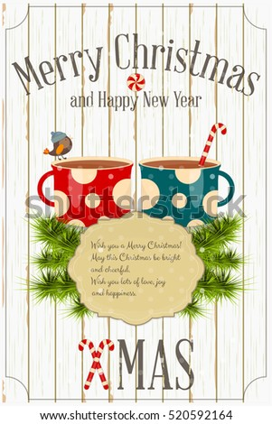 Merry christmas new year card two stock vector royalty free merry christmas and new year card two cups of coffee and xmas fir branches on m4hsunfo