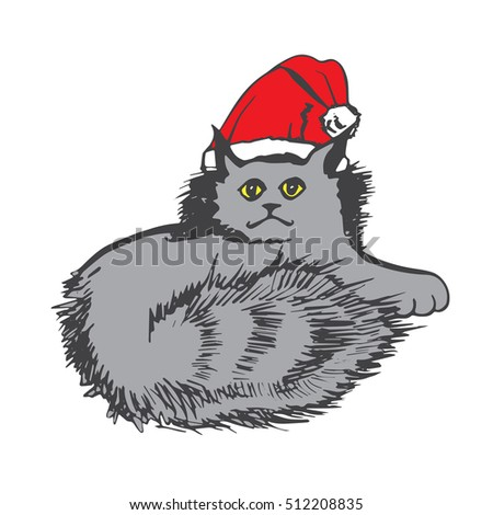 Merry Christmas and New Year card with cute cat. Hand drawn vector illustration for poster, print on clothes.