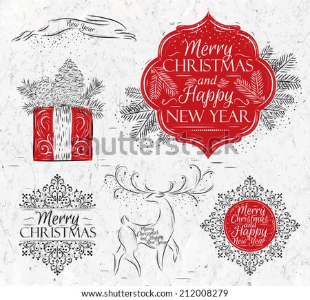 Merry Christmas and New Year collection graphics in elegant vintage style, rabbit, gift, reindeer, snowflake, sticker stylized for the drawing - stock vector