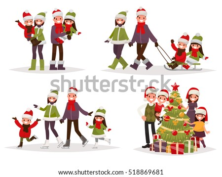 Merry Christmas and New Year. Holiday family set. Parents and children are skating and sledding, decorate the Christmas tree. Vector illustration in a flat style