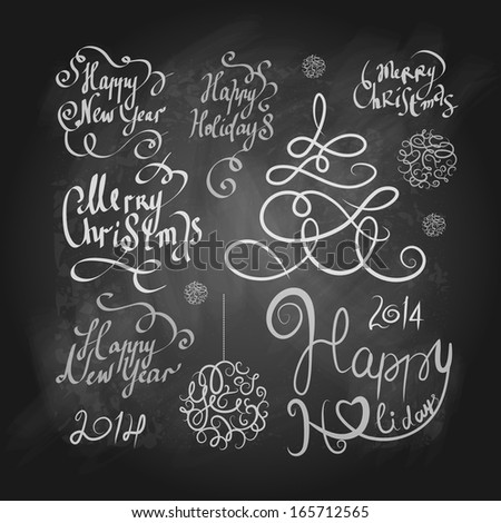 Merry Christmas and New Year lettering collection on a chalkboard - stock vector