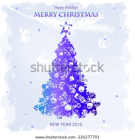 Merry Christmas and New Year, retro Greeting Card, Christmas Tree, Merry Christmas lettering, drawing hand, vector illustration - stock vector