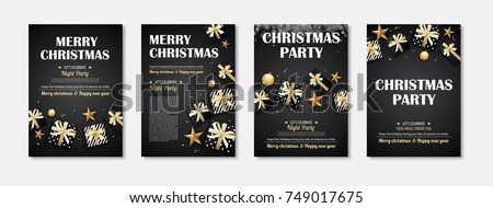 Merry christmas and party gift box invitation theme concept. Happy holiday greeting banner and card design template.