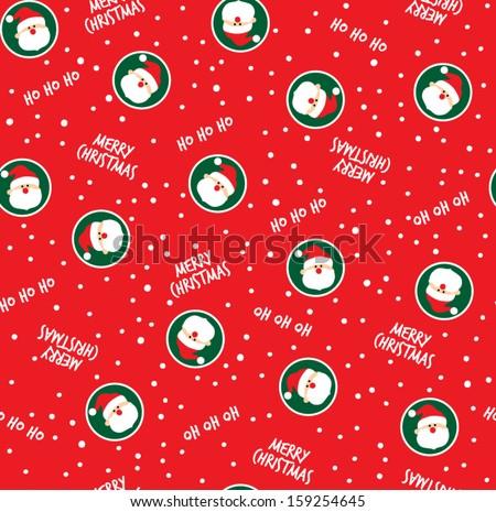 Merry Christmas and Santa Seamless Pattern - stock vector