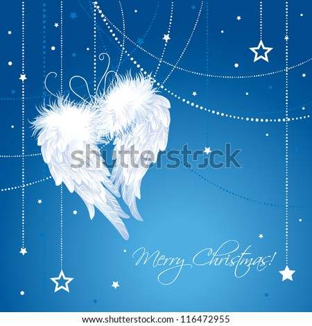 Merry Christmas angel wings background.  Greeting Card in vector. - stock vector