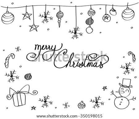 Merry Christmas back and white design. Vector illustration - stock vector