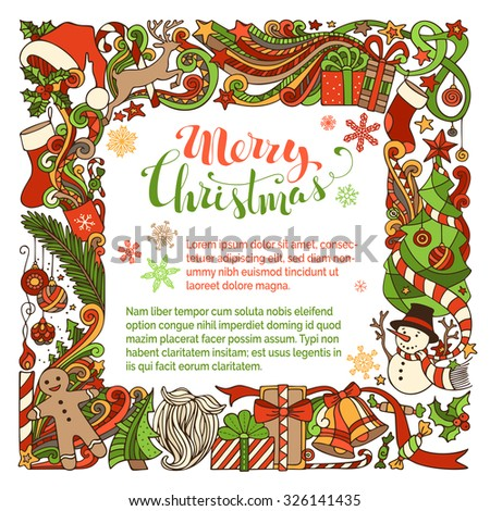 Merry Christmas background. Christmas tree and balls, gifts and bows, snowman, gingerbread man, deer, bells and ribbons, Santa sock, hat, beard, holly berries, stars, cup, candle, hand-written text.  - stock vector