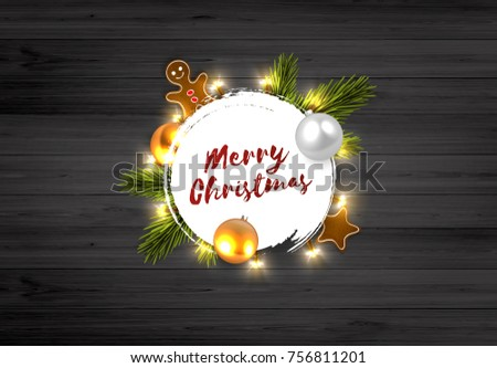 Merry Christmas Background Circle Label With Lettering On Rustic Wooden Board