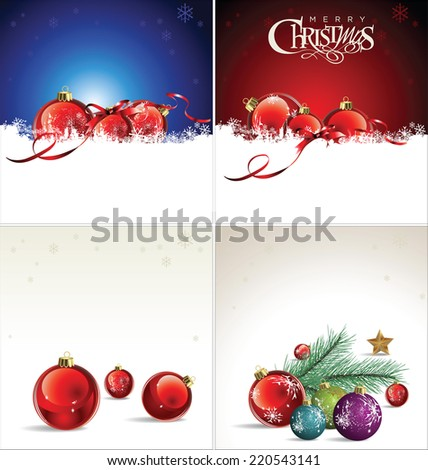 Merry Christmas background collection - stock vector
