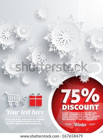 Merry Christmas Background Discount Percent with Snowflake and Ball - stock vector