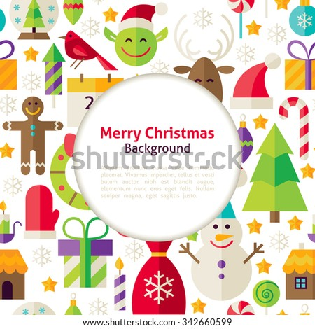 Merry Christmas Background. Flat Style Vector Illustration for Happy New Year Promotion Template. Colorful Objects for Advertising. Corporate Identity with Text. - stock vector