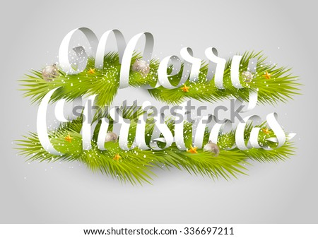 Merry Christmas  background.Typographic poster. - stock vector