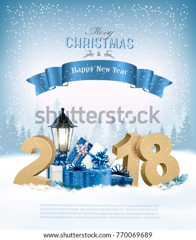Merry Christmas Background with 2018 and gift boxes and blue ribbon. Vector