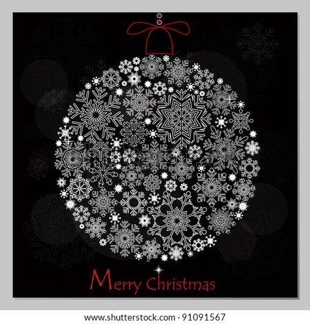 Merry Christmas background with Christmas ball. - stock vector