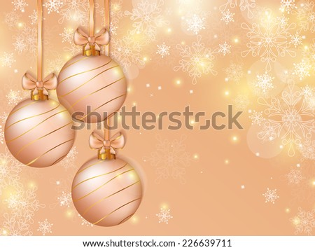 Merry Christmas! Background with christmas balls,  snowflakes and space for text. Holiday banner. Vector illustration. - stock vector