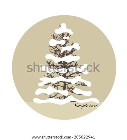 Merry Christmas background with Christmas tree. Vector illustration - stock vector