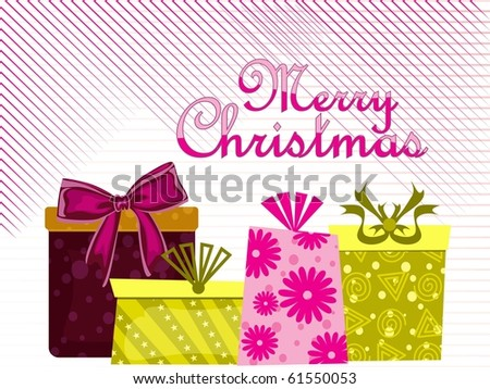 merry christmas background with colorful gifts - stock vector