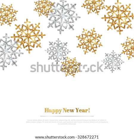 Merry Christmas Background with Gold and Silver Snowflakes. Vector Illustration. Gold Glitter Texture, Sequins Pattern. Glowing Sparkles New Year or Christmas Backdrop. Season Greetings Banner - stock vector